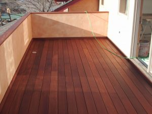 wood balcony in louisville, colorado before sealwize treatment
