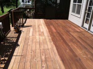wood deck in louisville, colorado during sealwize treatment