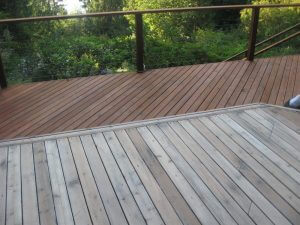 wood deck in boulder, colorado during sealwize treatment