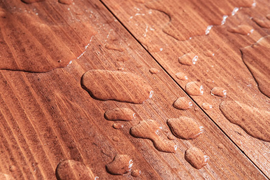 water beading on wood treated with sealwize